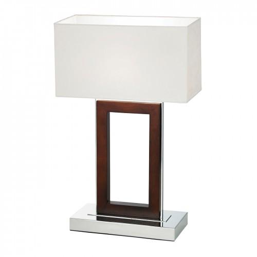1 Light Table Lamp Dark Wood and Polished Chrome