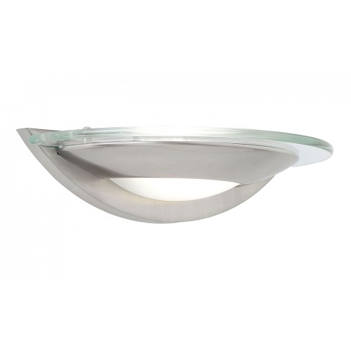 Satin Chrome + Glass Wall Light