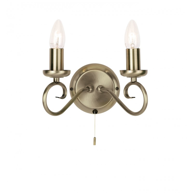 Trafford 2lt wall 60W SW - antique brass