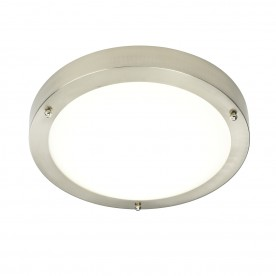 Portico LED flush IP44 9W cool white - satin nickel
