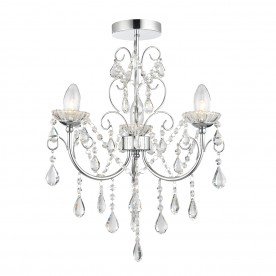 Tabitha 3lt semi flush IP44 18W - clear crystal glass