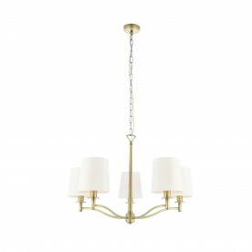 Ortona 5lt pendant 40W - matt antique brass vintage white fabric