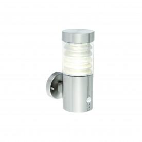 Equinox LED PIR 1lt wall IP44 10W cool white - marine grade brushed stainless steel
