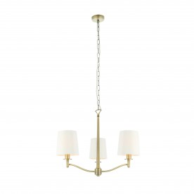 Ortona 3lt pendant 40W - matt antique brass vintage white fabric