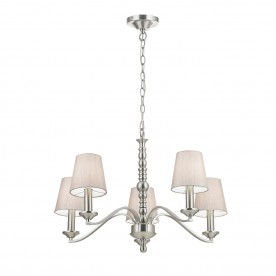 Astaire 5lt pendant 40W - satin nickel natural cotton mix