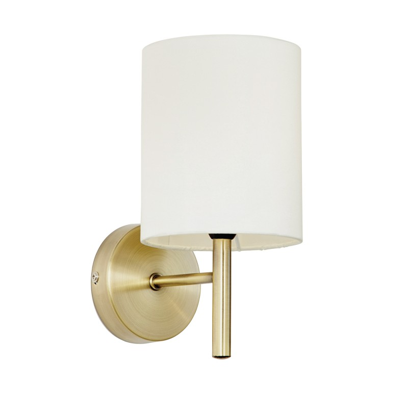 Brio 1lt wall 40W - antique brass cream faux silk