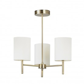 Brio 3lt semi flush 40W - antique brass cream faux silk