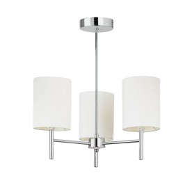 Brio 3lt semi flush 40W - chrome plate off white faux silk
