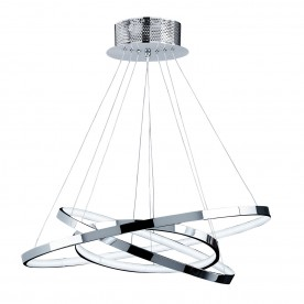 Kline 3 ring pendant 36W warm white - chrome plate
