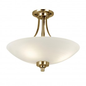 Welles 3lt semi flush 60W - white painted lined glass