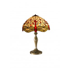 "Beige Dragonfly 12"" Tiffany Table Lamp"