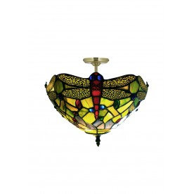 "Green Dragonfly 16"" Tiffany Semi Flush"