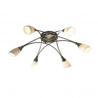 Bureau 6 Light Semi Flush - Antique Brass