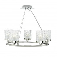 Victoria 5 Light Pendant - Polished Nickel & Decorative Glass Shade