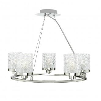 Victoria 5 Light Pendant - Polished Nickel & Decorative Glass Shade
