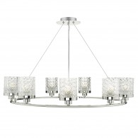 Victoria 9 Light Pendant - Polished Nickel Decorative Glass Shade