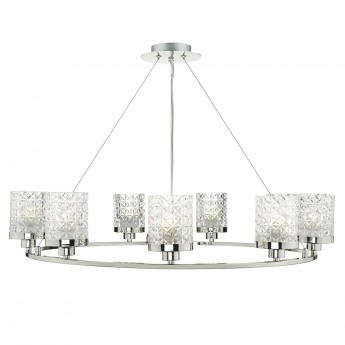 Victoria 9 Light Pendant - Polished Nickel Decorative Glass Shade