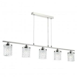 Victoria 5 Light Bar - Polished Nickel & Decorative Glass Shade