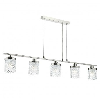Victoria 5 Light Bar - Polished Nickel & Decorative Glass Shade