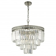 Vyana 4 Light 4 Tier Pendant - Brushed Nickel and Crystal Droppers