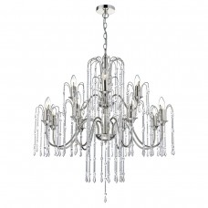 Daniella 12 Light Pendant Polished Nickel - Chrome Rods And Crystal Beads