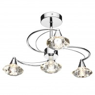 Luther 4 Light Semi Flush - Crystal Glass Polished Chrome