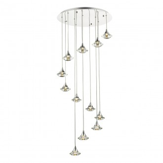 Luther 12 Light Spiral Pendant - Crystal Glass