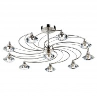 Luther 10 Light Semi Flush - Crystal Glass Satin Chrome