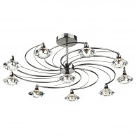 Luther 10 Light Semi Flush - Crystal Glass Black Chrome