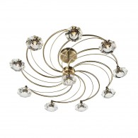 Luther 10 Light Semi Flush - Crystal Glass Antique Brass
