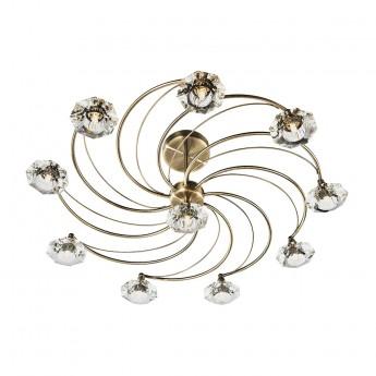 Luther 10 Light Semi Flush - Crystal Glass Antique Brass