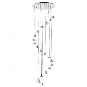 Luther 20 Light Spiral Pendant - Crystal Glass