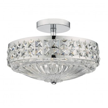 Olona 3 Light Semi Flush - Polished Chrome Crystal Beads and Glass Diffuser