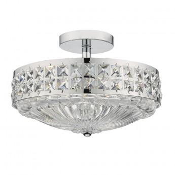 Olona 3 Light Semi Flush - Polished Chrome Crystal Beads and Glass Diffuser