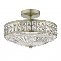 Olona 3 Light Semi Flush - Antique Brass Crystal Beads and Glass Diffuser