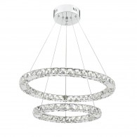 Roma LED Pendant - Crystal with Chrome - Large