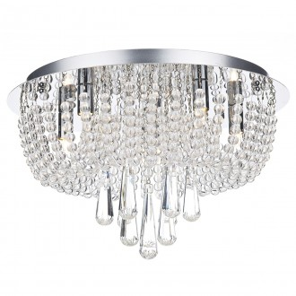 Saigon 5 Light Flush - Polished Chrome/Clear