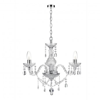 Katie 3 Light Chandelier - Polished Chrome Acrylic Glass