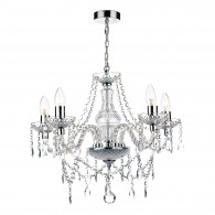 Katie 5 Light Chandelier - Polished Chrome Acrylic Glass
