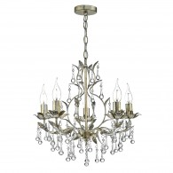 Laquila 5 Light Chandelier - Antique Gold & Silver Crystal Droppers