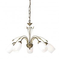 Flurette Pendant 5 Light - Antique Brass