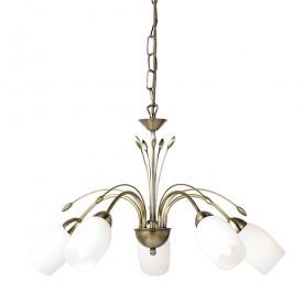 Flurette Pendant 5 Light - Antique Brass