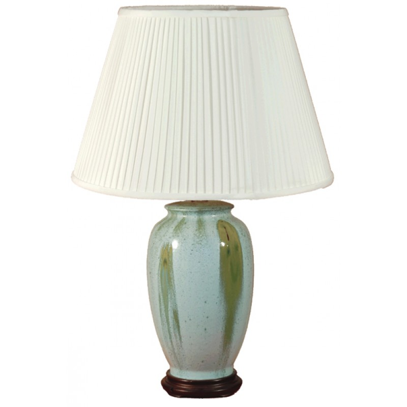 TL133F - Blue Green Glaze Lamp Complete