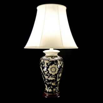 TL4211H - Black Gloss Floral Lamp