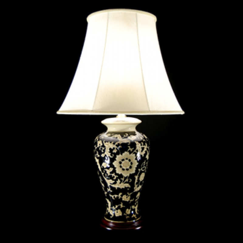 TL4211H - Black Gloss Floral Lamp
