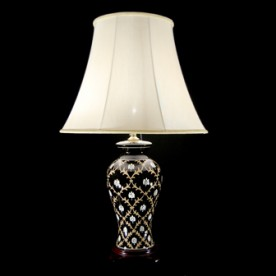TL7091-7055 - Black Glaze Floral Table Lamp Complete