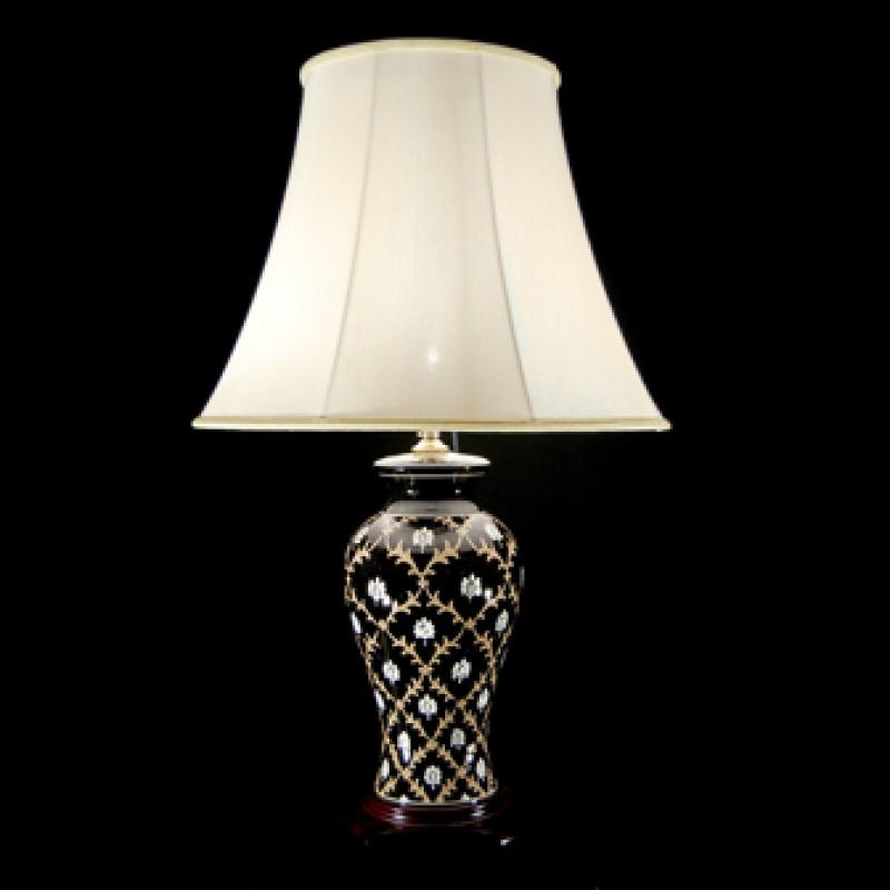 TL7091-7055 - Black Glaze Floral Lamp
