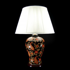 TL7190 - Red Black Paisley Table Lamp Complete