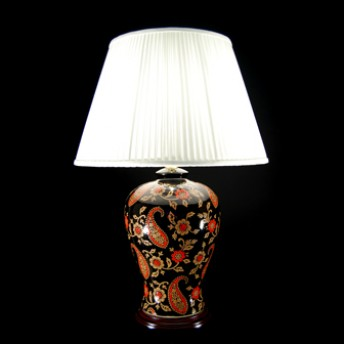 TL7190 - Red Black Paisley Lamp