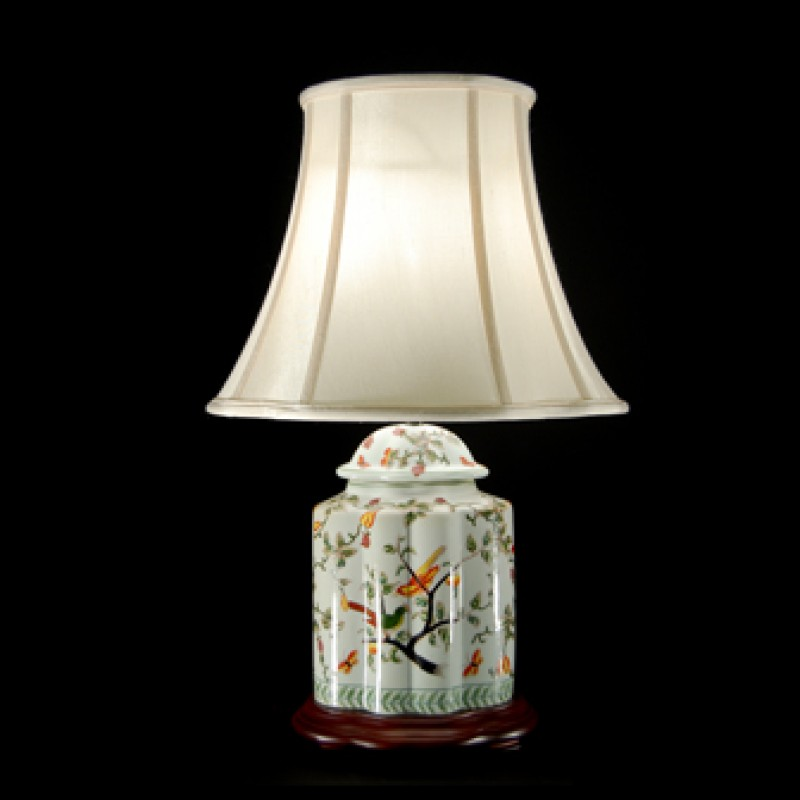 TL0119 - White With Bird Lamp Complete